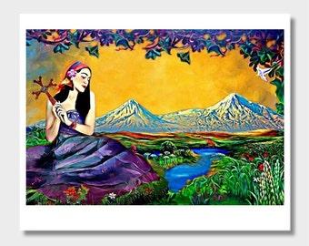 Armenian Cross, Armenian Eternity Symbol, Armenian Girl, Mount Ararat, Armenian Art, Armenia Wall Decor, Masis Ararat, Cross of Armenia
