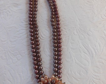 Vintage Brown Beaded Two Strand Choker with Starburst Pendant