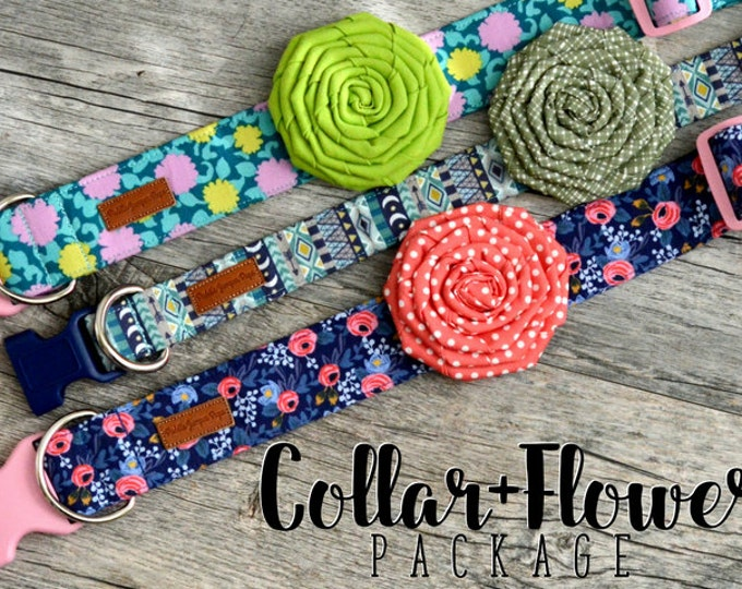 Featured listing image: Any Collar + Flower Package - please note the pattern(s) of your choice at checkout