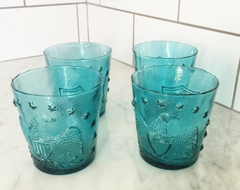 Blue Tumblers, Patriotic Bar Ware, Blue Eagle Tumblers, Rocks Glasses