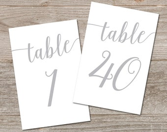 Wedding Table Numbers Silver 1-40 // 5x7, 4x6 Table Numbers Wedding // Gray Table Number Template