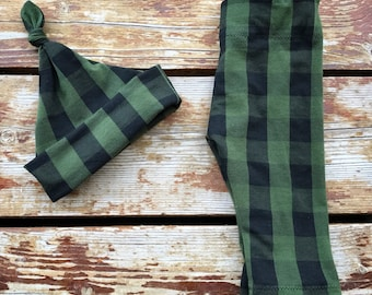 Hunter Green Buffalo Check Set, Plaid, Black, Hat, Leggings, Pants, Stretchy, Newborn, Infant, Gift
