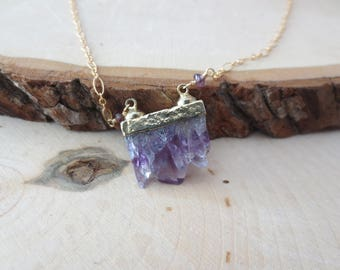 Raw Amethyst gold filled chain necklace, Amethyst pendant necklace, February birthstone, gift for her