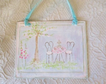 handpainted Tea for Two on a bookboard
