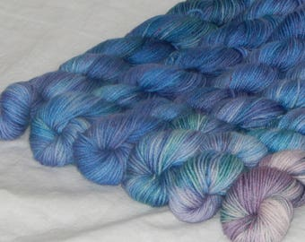 Tiny Dancer set of 6 mini skeins on Mad Sock 75/25 SW merino and nylon fingering yarn