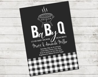 BabyQ Baby Shower Invitation - BBQ Baby Shower - Coed Baby Shower - Dark Gray Grey White - Gingham - Printable