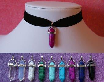 Crystal Necklace   Velvet Natural Quartz Crystal    Stone Pendant Charm Choker Necklace   Bullet Shape Pendant