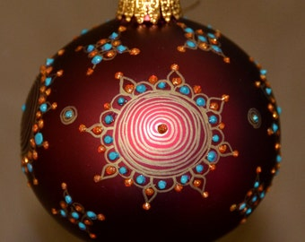 Christmas Ornament, Hand Painted, Maroon Glass Bulb, Handmade, Unique Designp, Holiday Gift, Glass Ornament