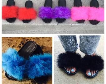 Fuzzy fur slide sandals