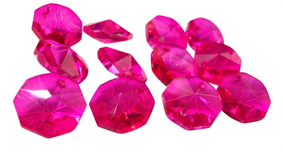 100 Fuchsia Pink 14mm Octagon Chandelier Crystals Beads