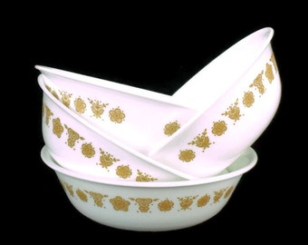 Vintage Corelle Cereal Bowls * Set of 4 *  Butterfly Gold * Pyrex Compatible