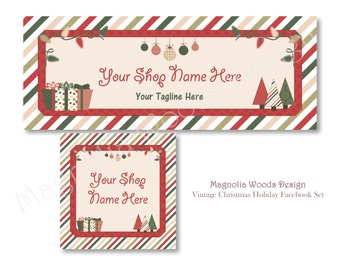 Christmas Facebook Cover Photo, Holiday Facebook Business Timeline Set, Christmas Facebook Timeline, Facebook Profile, Facebook Image Set