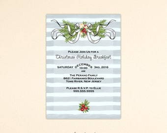 Christmas Brunch Invitation, Holiday Party, Xmas Pot Luck Dinner, Holiday Open House, Holiday Birthday Party, Christmas Invite, C11072