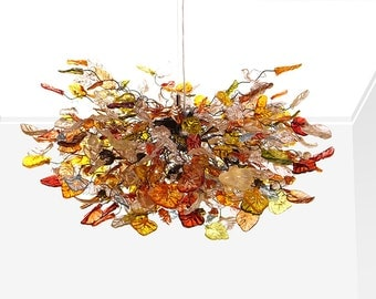 Hanging chandeliers with iber color flowers and leaves for dinning room, bedroom or living room.