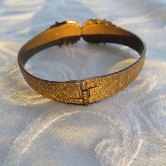 Victorian Rhinestone Clamper Bracelet, Green Rhinestone, Vintage Jewelry