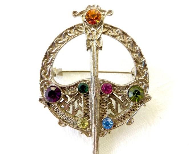 Vintage Celtic Sword Shield Brooch, Kilt Pin, Rhinestone Irish Jewelry