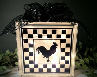 Country Rooster Lighted Glass Block