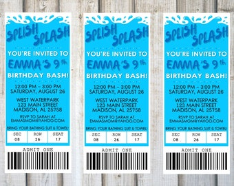 WATERPARK BIRTHDAY INVITATION, Printable, Customized, Ticket, Pool, Birthday Party Invite, Digital