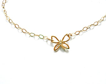 Delicate Butterfly Bracelet on 14 Kt Gold Filled Chain /  Butterfly with Crystal Bracelet