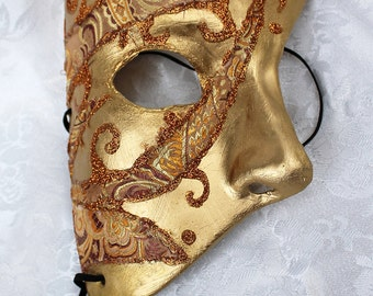 Paper Mache Phantom Masquerade Mask, Gold and Bronze Brocade and Gold Paper Mache Phantom Mask