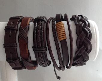 Handmade Genuine Leather Set of Five Bracelet.