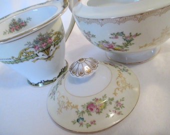 Vintage Mismatched China Sugar & Creamer Set for Tea Party, Wedding, Garden Party,Bridal Gift,  Bridal Luncheons, Showers