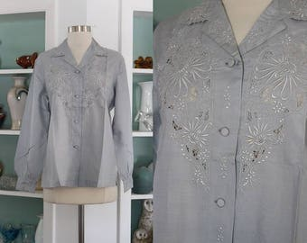 1950s Embroidered Blouse / Vintage 50s 60s Cornflower Blue Silk Chinese Long Sleeved Embroidered Floral Blouse Asian Top /Silk Shirt - M/L