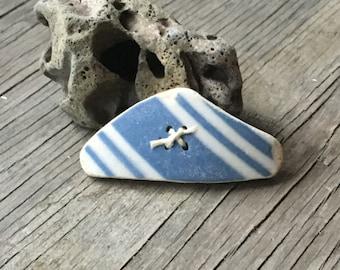 Nautical, Blue White Stripe, Sea Pottery, Cream Stone, Natural, Earthenware, Ceramic, Antique, Vintage, Button, OOAK, Large, 2 Inch,