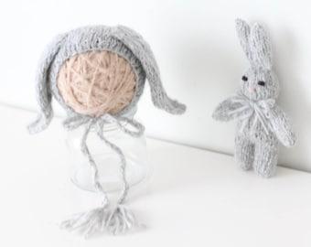 Newborn rabbit - Newborn props - Photo prop rabbit - Newborn set - Photo prop boy - Newborn beat hat - photography prop - Baby boy - Grey