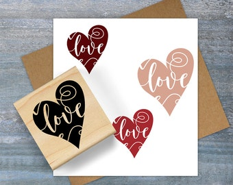 Love Heart Stamp, Valentine Stamp, Heart Rubber Stamp, Calligraphy Love Stamp, Valentine Card Stamp, Romantic Stamp, Valentine Gift 095