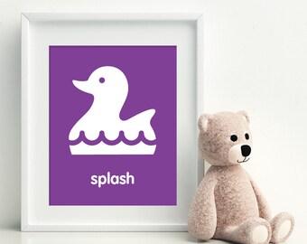 SPLASH Rubber Ducky Art Print - bathroom art - kids bathroom decor - bathroom rules
