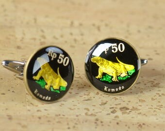 Cufflinks Indonesia Coin.Indonesian Komodo dragon