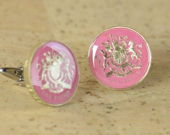 Enamel coin pound  Cufflinks.United Kingdom.Great Britain