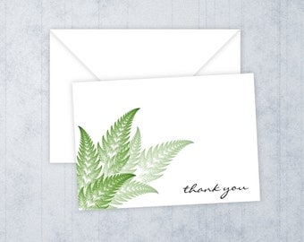 Fern Fronds • Thank You Cards • Printed Thank You Notes • Thank You • Bridal Shower • Green Leaves Thank You Cards