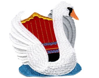 Swan Patch, Swan Applique, Machine Embroidered Iron On Applique/Patch, Applique for Jacket,  FREE SHIPPING USA