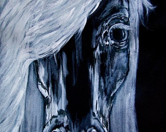 Black and White Horse Painting . Canvas or Print . 3.5x5, 8x12, 11x17, 12x18, 16x24, 20x28, 24x36, 8x12, 10x14, 12x20, 16x24, 24x40 . Equine