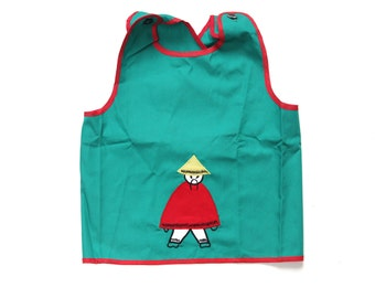 Vintage 60s green apron or top with embroidered chinese boy size 18 months NOS deadstock