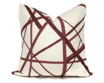 Channels Pillow Cover, Plum Oatmeal Color 20 x 20 Inches
