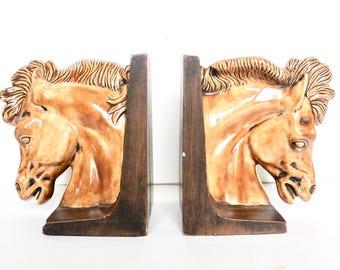 Vintage ceramic horse head book ends / 70s book ends /Vintage Horse head bookends