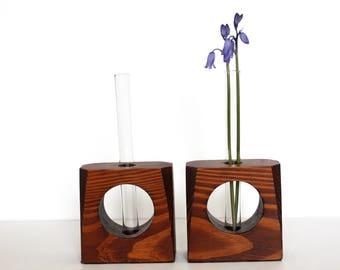 Vintage Bud Vases / Vintage Vase / Bud Vase / Handmade Vase / Wood Bud Vase / Test Tube Bud Vase / set of two