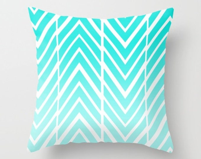 Turquoise Ombre Pillow Cover - Cover Only - Zig Zag Turquoise - Sofa Pillow - Made to Order