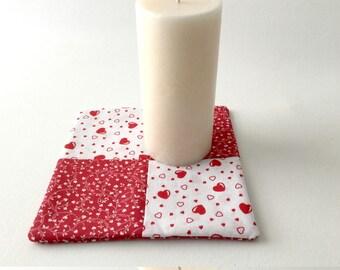 Heart Hot Pad, Red Heart Trivet, Red Mug Rug, Flower Hot Pad, Red and White, Heart Mug Rug, Heart Fabric, Red Heart Mug Rug