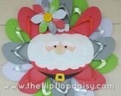 Beautiful Handmade Winter Flip Flop Wreath Red White Green Santa Door Decor Holiday
