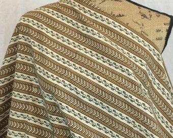 African Java Print Fabric--African Print Fabric--Tuareg Design Print--Brown/Cream Vines and Chevron Stripes--African Fabric by the HALF YARD