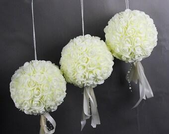 Foam Rose Kissing Balls Pomander Set Of 6 Flower Balls For Wedding Centerpieces Aisle Runner Chair Decor Babys Shower
