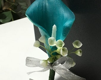 Teal Calla Lily Boutonnière For Groomsmen Latex Calla Fake Flower Boutonnière Corsages Groom Flowers