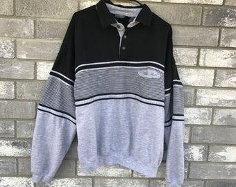 80s 90s grey striped geometric sweatshirt jumper