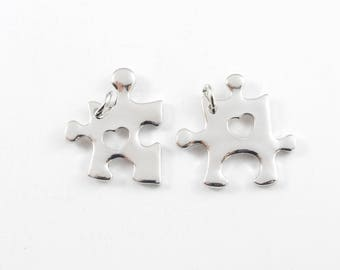 Silver Puzzle Charms, Heart Charm - 2 pieces (189S)
