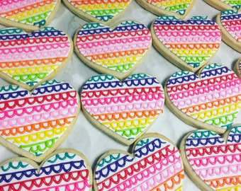 Large rainbow banner heart cookies