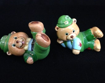 Vintage Russ Shamrock Bear Figurines Ceramic High Gloss 5548 made in Korea   (LDT5)